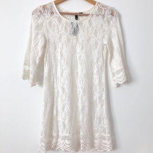 NWT!! Crochet Lace Dress Swim Cover Up 3/4 Sleeve